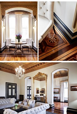 A heritage building furnished with elegant and classic interior design. Melbourne Girls Grammar Reception Spaces.