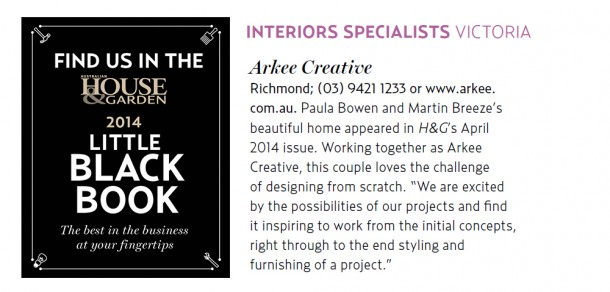 Arkee Creative inclusion from Australian House and Garden Little Black Book